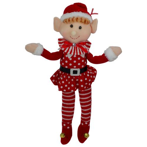 "15"" Girl Elf in Polka Dot Dress Christmas Ornament - IMAGE 1"