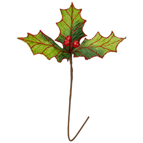 """17.5"""" Red Glitter Holly Berry Christmas Pick - IMAGE 1"""