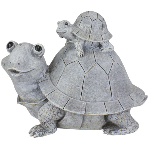 """7"""" Turtle with Riding Baby Outdoor Garden Statue - IMAGE 1"""