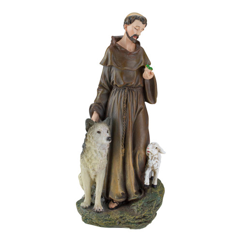 "9.75"" Joseph's Studio St. Francis with Wolf and Lamb Religious Figure - IMAGE 1"