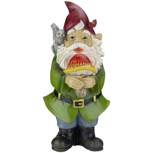 "12.5"" Welcome Gnome with Squirrel and Cardinal Outdoor Garden Statue - IMAGE 1"