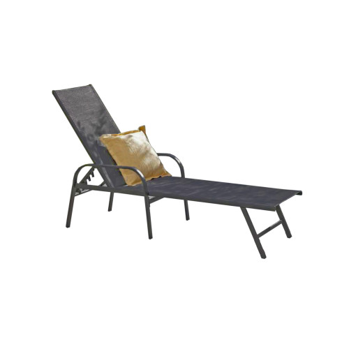 Black Adjustable Back Outdoor Patio Lounge Chair - IMAGE 1