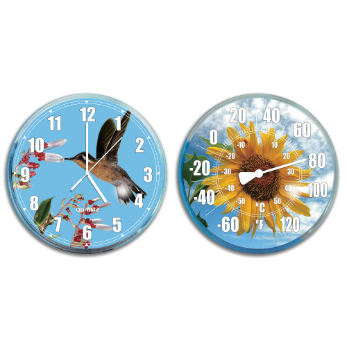 """Set of 2 Blue and Yellow HydroTools Swimming Pool Thermometer and Wall Clock Combination 12"""" - IMAGE 1"""