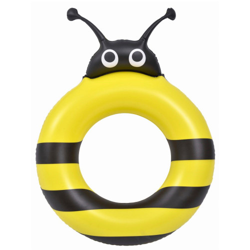 """27.5"""" Black and Yellow Inflatable Bumblebee Pool Ring Float - IMAGE 1"""