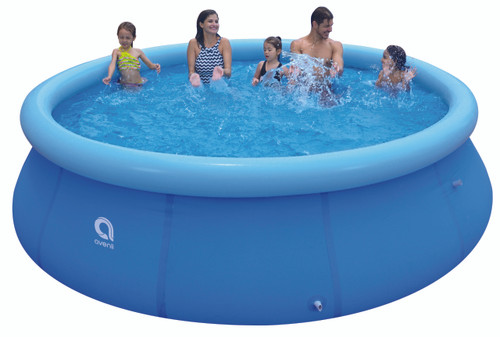 14' Round Blue Inflatable Prompt Set Swimming Pool - IMAGE 1
