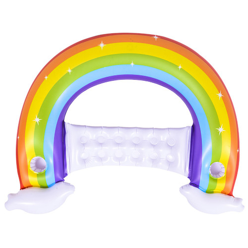 """58"""" Inflatable Rainbow Swimming Pool Water Lounger - IMAGE 1"""