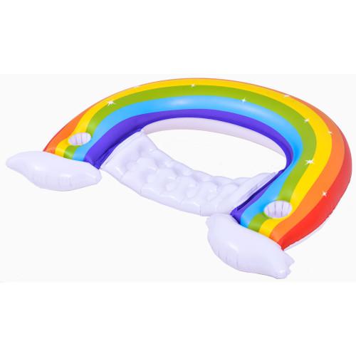 "58"" Inflatable Rainbow Swimming Pool Lounge Chair - IMAGE 1"