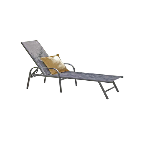 Gray and White Adjustable Back Outdoor Patio Lounge Chair - IMAGE 1