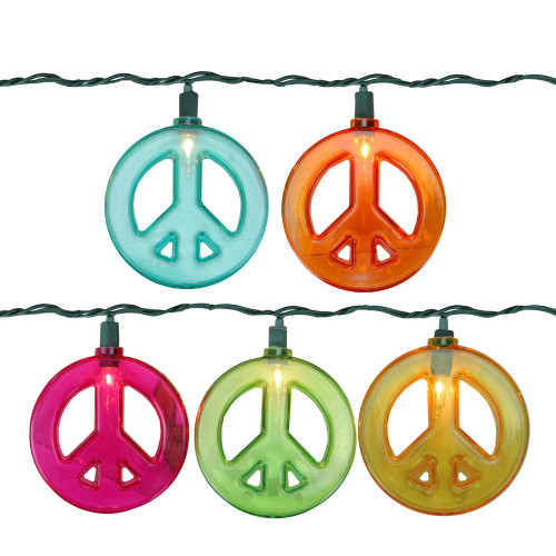 Set of 10 Multi-Colored Peace Sign Christmas Lights - 10 ft Green Wire - IMAGE 1