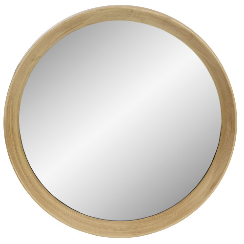 "19.75"" Gold Round Classic Mirror Wall Decor With a Wooden Finish - IMAGE 1"