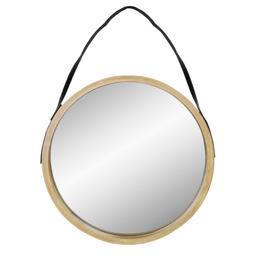 "21"" Beige Round Modern Mirror With Woodgrain Finish - IMAGE 1"