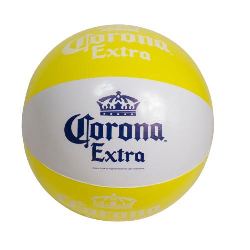 "20"" Corona Tropical Yellow and White Inflatable Beach Ball - IMAGE 1"