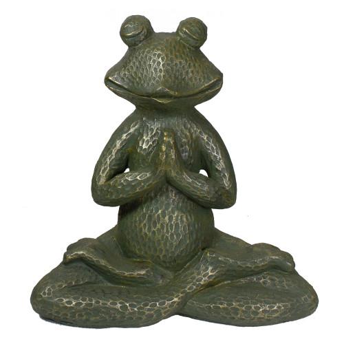 """14"""" Gold Verdigris Yoga Frog Outdoor Garden Statue - IMAGE 1"""