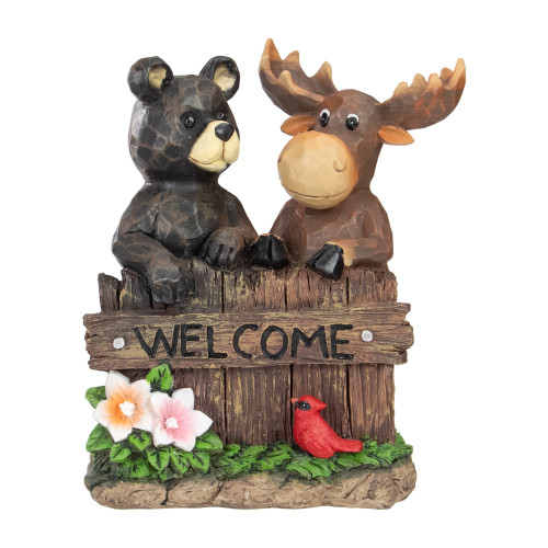 """9.5"""" Black Bear and Moose Outdoor Garden """"Welcome"""" Sign - IMAGE 1"""