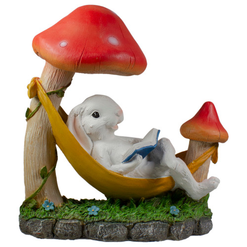 "11.5"" Mushrooms and Rabbit in Hammock Outside Garden Statue - IMAGE 1"