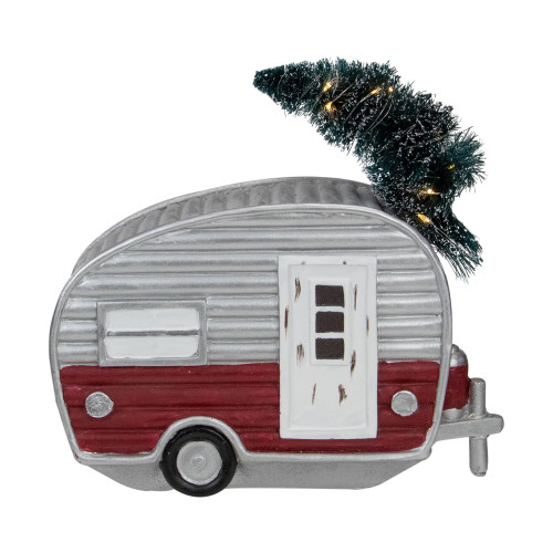 """8.5"""" LED Lighted Camper with Pine Bough Christmas Decoration - IMAGE 1"""