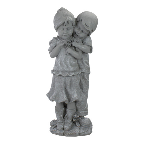 "19.5"" Gray Boy Hugging Girl Outdoor Garden Statue - IMAGE 1"