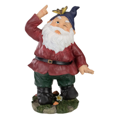 """11"""" Red and Green Gnome with Butterfly Outdoor Garden Statue - IMAGE 1"""