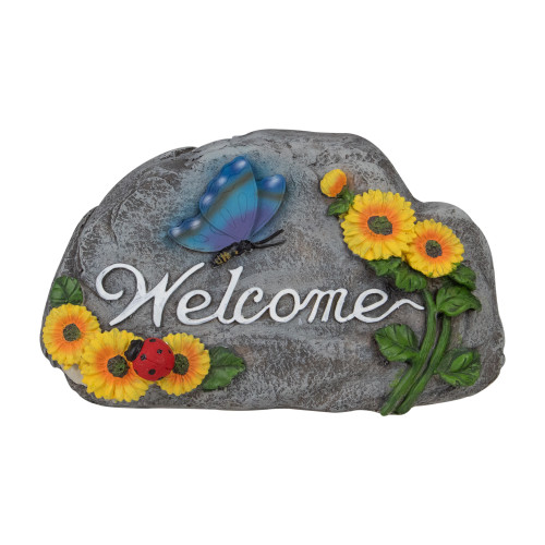 """10.5"""" Gray Spring Butterfly and Sunflower """"Welcome"""" Outdoor Garden Stone - IMAGE 1"""