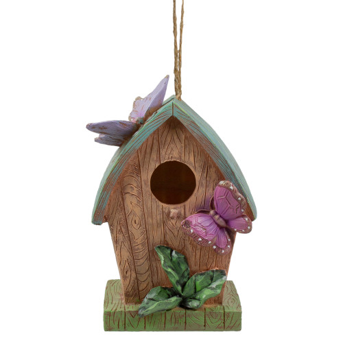 """10"""" Brown and Green Hanging Birdhouse with Butterflies Outdoor Garden Decor - IMAGE 1"""