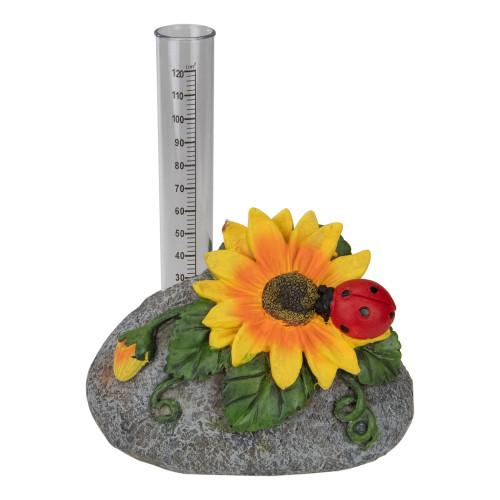 "7"" Sunflower and Ladybug Rock Garden Rain Gauge - IMAGE 1"