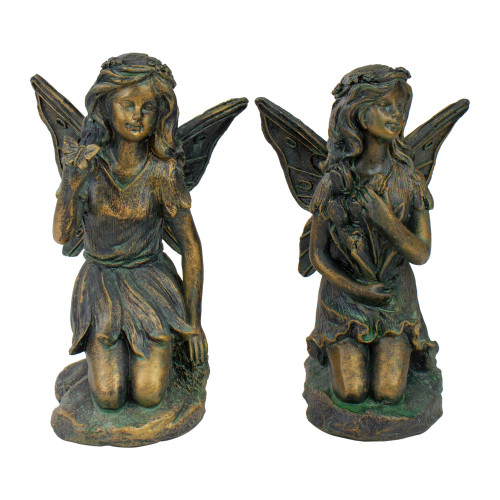 """Set of 2 Bronze Kneeling Fairies With Flowers and a Butterfly Outdoor Garden Statues - 7"""" - IMAGE 1"""