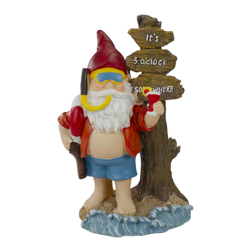 """10.5"""" Red and Blue Beach Gnome Outdoor Garden Statue - IMAGE 1"""