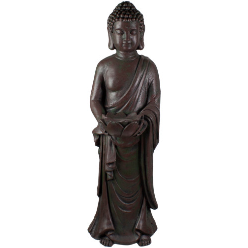 """19.5"""" Gray Standing Buddha with Lotus Outdoor Garden Statue - IMAGE 1"""