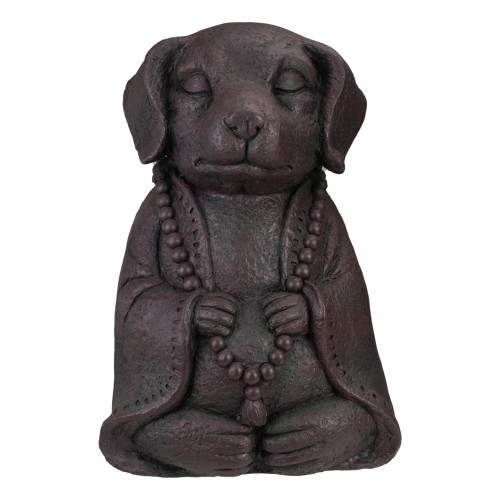 "17"" Dark Gray Meditating Buddha Dog Outdoor Garden Statue - IMAGE 1"