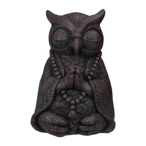 "17"" Dark Gray Meditating Buddha Owl Outdoor Garden Statue - IMAGE 1"