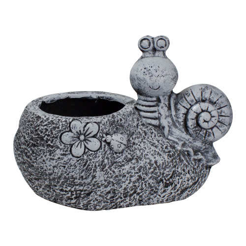 """15.5"""" Gray Snail, Flower, and Ladybug Outdoor Garden Planter - IMAGE 1"""