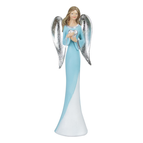 """16"""" Blue and White Angel Figure Holding a Heart - IMAGE 1"""
