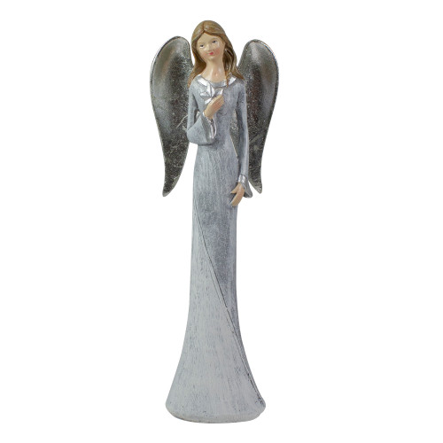 """6.5"""" Gray and White Angel Figure Holding a Star - IMAGE 1"""