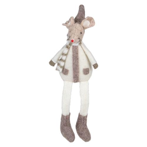 "9.5"" Sitting Plush Christmas Mouse Figure - IMAGE 1"
