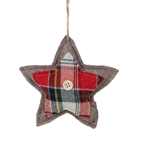 "4.5"" Plaid Star Shaped Plush Christmas Ornament - IMAGE 1"