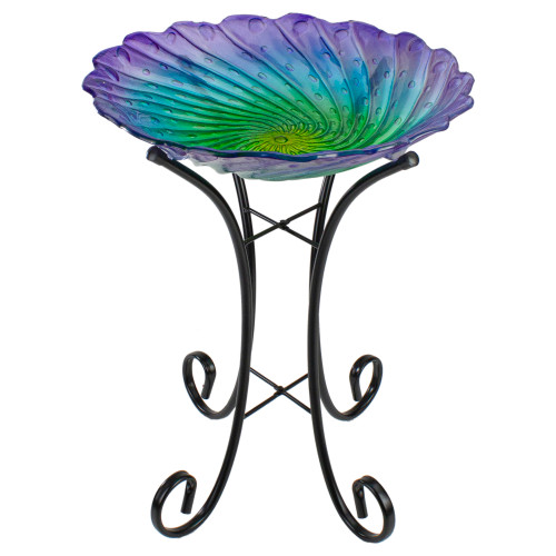 "18"" Purple and Green Swirled Hand Painted Glass Outdoor Birdbath - IMAGE 1"