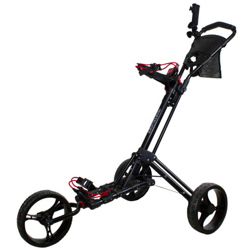 "48"" Black Easy Folding 3 Wheel Golf Bag Push Cart - IMAGE 1"