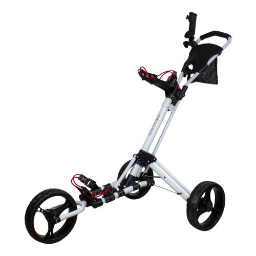 "48"" White and Black Easy Folding 3 Wheel Golf Bag Push Cart - IMAGE 1"