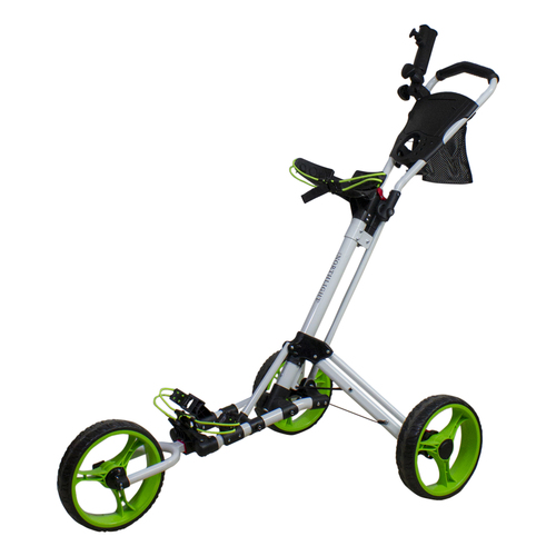 "48"" White and Green Easy Folding 3 Wheel Golf Bag Push Cart - IMAGE 1"
