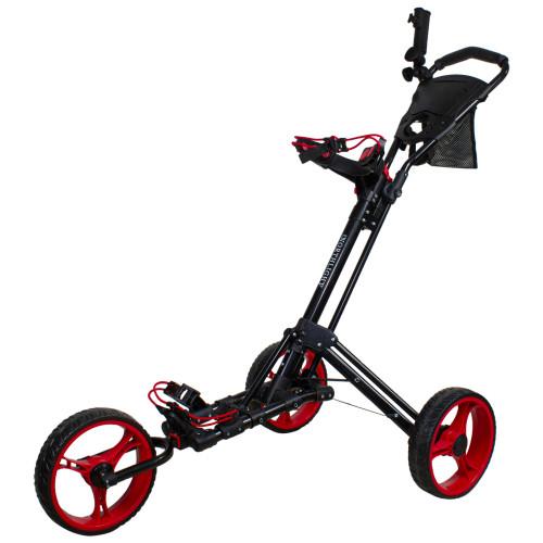 "48"" Black and Red Easy Folding 3 Wheel Golf Bag Push Cart - IMAGE 1"