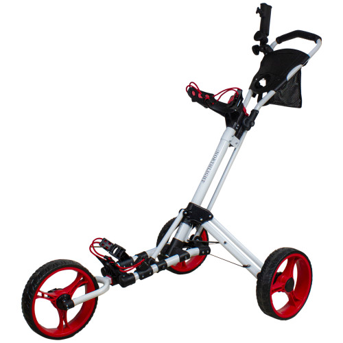 "48"" White and Red Easy Folding 3 Wheel Golf Bag Push Cart - IMAGE 1"
