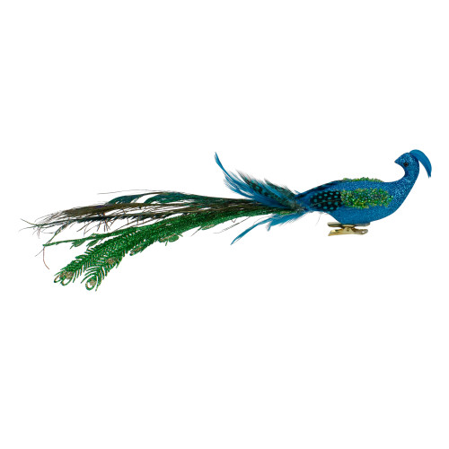 """15.25"""" Blue and Green Glittered Peacock Clip On Christmas Ornament - IMAGE 1"""