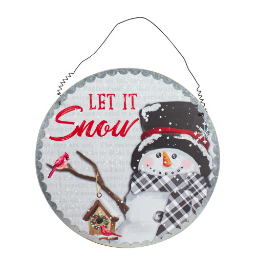"""13.5"""" Snowman with Birdhouse Let it Snow Christmas Wall Decor - IMAGE 1"""