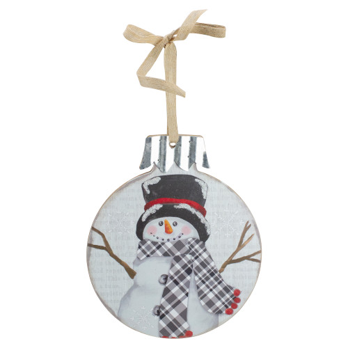 """9.5"""" Black and Red Smiling Snowman Christmas Wall Decor - IMAGE 1"""