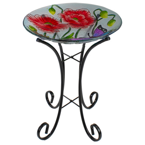 """21"""" Butterfly and Carnations Hand Painted Glass Outdoor Birdbath - IMAGE 1"""