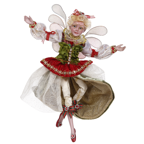 """Mark Roberts Green and Ivory Bow Maker Christmas Fairy, Small 10"""" #51-05832 - IMAGE 1"""