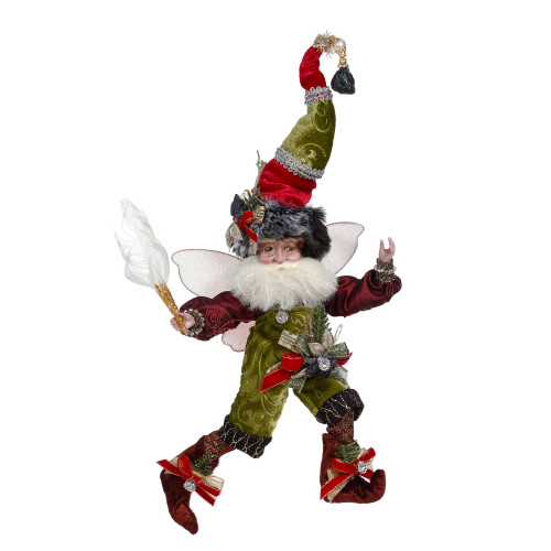 "Mark Roberts Coal Stocking Christmas Fairy Green and Red, Small 9"" - IMAGE 1"