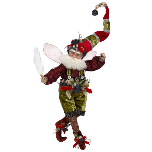 "Mark Roberts Coal Stocking Christmas Fairy Green and Red, Medium 15"" #51-05852 - IMAGE 1"