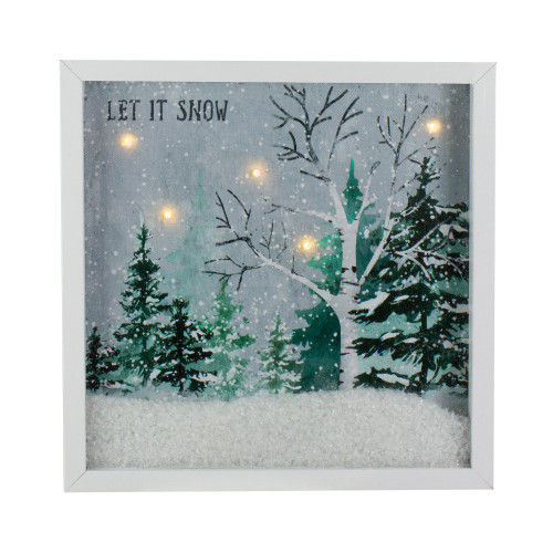 """LED Lighted Let it Snow Winter Forest Christmas Canvas Wall Art 10"""" x 10"""" - IMAGE 1"""