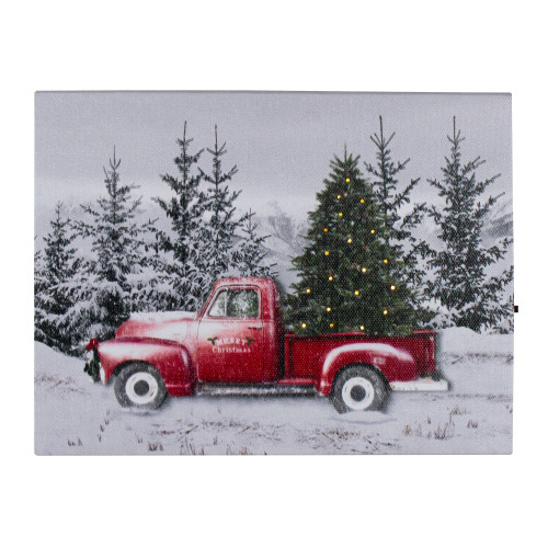 """8"""" Lighted Christmas Tree in a Red Truck Tabletop Canvas Art - IMAGE 1"""